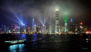 Laser light show Hong Kong Harbour